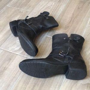 Anne Klein Shoes - ANNE KLEIN Black Leather Combat Booties